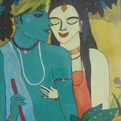radha krishna love painting for living room, bedroom, 15 x 19 inch, pragati singhal,15x19inch,canvas board,paintings,figurative paintings,radha krishna paintings,love paintings,paintings for living room,paintings for bedroom,paintings for hotel,acrylic color,GAL01351823576