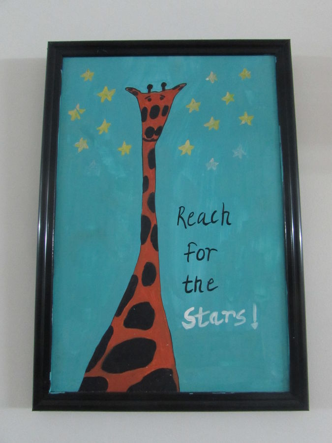 giraffe figure with motivational quotation for kids, 8 x 12 inch, pragati singhal,8x12inch,acrylic glass,paintings,conceptual paintings,animal paintings,children paintings,kids paintings,paintings for living room,paintings for bedroom,paintings for kids room,paintings for school,acrylic color,poster color,GAL01351823579