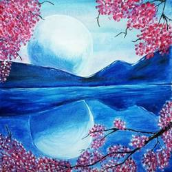 reflection of nature, 16 x 16 inch, sonal chaudhary,16x16inch,canvas,paintings,abstract paintings,acrylic color,GAL0399823585