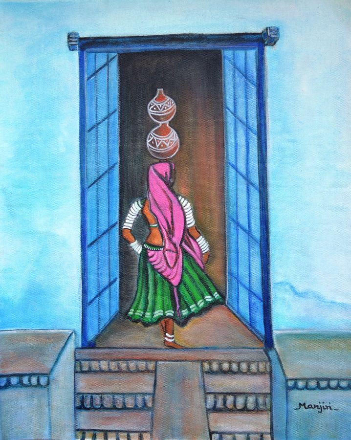 rajasthani beauty amrita, 20 x 16 inch, manjiri kanvinde,figurative paintings,paintings for bedroom,thick paper,acrylic color,20x16inch,GAL01202359
