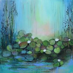 white lotus pond, 12 x 12 inch, amita dand,12x12inch,canvas board,paintings,abstract paintings,flower paintings,nature paintings,impressionist paintings,paintings for dining room,paintings for living room,paintings for bedroom,paintings for office,paintings for hotel,paintings for hospital,acrylic color,mixed media,pastel color,GAL0146723591