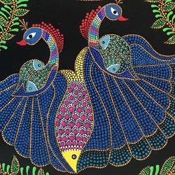 madhubani dot art fusion, 10 x 20 inch, gayathri nayak,10x20inch,canvas,paintings,folk art paintings,nature paintings,animal paintings,madhubani paintings,paintings for dining room,paintings for living room,paintings for bedroom,paintings for office,paintings for kids room,paintings for hotel,paintings for kitchen,paintings for school,acrylic color,GAL0773523593