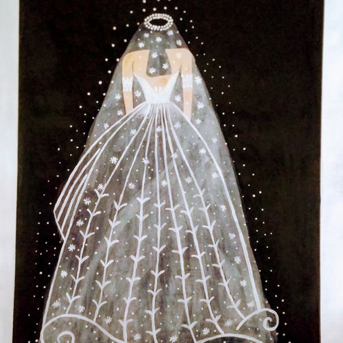 bride, 15 x 22 inch, geeta kwatra,15x22inch,handmade paper,paintings,abstract paintings,paintings for living room,acrylic color,GAL0899123594