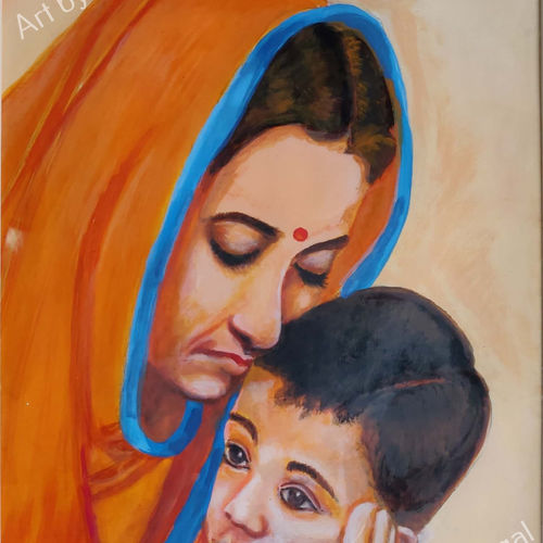 motherly affection, 13 x 19 inch, mangal singh,13x19inch,canvas,portrait paintings,love paintings,paintings for dining room,paintings for living room,paintings for office,paintings for hotel,paintings for school,paintings for hospital,paintings for dining room,paintings for living room,paintings for office,paintings for hotel,paintings for school,paintings for hospital,acrylic color,GAL0648523599