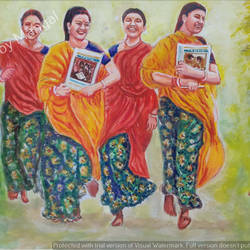 young and vibrant village girls, 21 x 15 inch, mangal singh,21x15inch,canvas,portraiture,realism paintings,street art,paintings for dining room,paintings for living room,paintings for hotel,paintings for school,paintings for dining room,paintings for living room,paintings for hotel,paintings for school,oil color,GAL0648523600