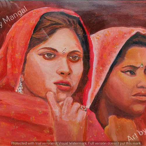 village girls, 19 x 13 inch, mangal singh,19x13inch,canvas,paintings,portraiture,street art,contemporary paintings,realistic paintings,paintings for dining room,paintings for living room,paintings for hotel,paintings for school,oil color,GAL0648523601