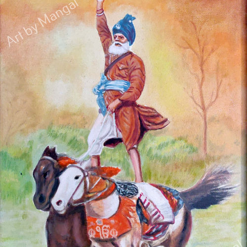 brave sikh man, 19 x 13 inch, mangal singh,19x13inch,canvas,paintings,wildlife paintings,still life paintings,portraiture,realistic paintings,horse paintings,paintings for dining room,paintings for living room,paintings for hotel,paintings for kitchen,oil color,GAL0648523602