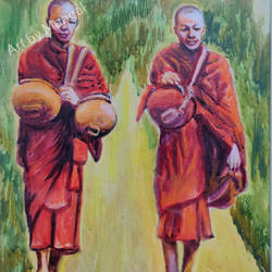 buddhist monks, 15 x 21 inch, mangal singh,15x21inch,canvas,buddha paintings,religious paintings,portrait paintings,realistic paintings,paintings for dining room,paintings for living room,paintings for office,paintings for hotel,paintings for school,paintings for dining room,paintings for living room,paintings for office,paintings for hotel,paintings for school,oil color,GAL0648523603