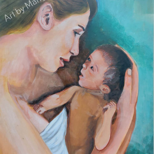motherly love, 15 x 21 inch, mangal singh,15x21inch,canvas,paintings,abstract paintings,portrait paintings,nature paintings,portraiture,love paintings,baby paintings,children paintings,kids paintings,paintings for dining room,paintings for living room,paintings for bedroom,paintings for kids room,paintings for hospital,oil color,GAL0648523604
