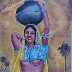 indian village woman, 15 x 21 inch, mangal singh,15x21inch,canvas,paintings,abstract paintings,figurative paintings,folk art paintings,still life paintings,portrait paintings,abstract expressionism paintings,portraiture,street art,paintings for dining room,paintings for living room,paintings for bedroom,paintings for hotel,paintings for dining room,paintings for living room,paintings for bedroom,paintings for hotel,oil color,GAL0648523605