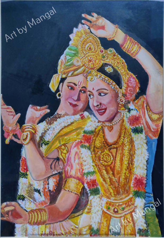 theater portrayal of indian dieties, 15 x 21 inch, mangal singh,15x21inch,canvas,paintings,portrait paintings,paintings for dining room,paintings for living room,paintings for hotel,paintings for school,paintings for hospital,oil color,GAL0648523606