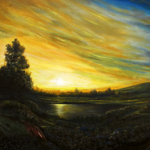 natural moments, 46 x 34 inch, seby augustine,46x34inch,canvas,paintings,landscape paintings,nature paintings,realism paintings,paintings for dining room,paintings for bedroom,paintings for office,paintings for kids room,paintings for hotel,paintings for kitchen,paintings for school,paintings for hospital,acrylic color,GAL015023607,sunset,trees,sun,water,clouds