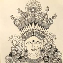 durga, 9 x 12 inch, amruta andre,9x12inch,paper,drawings,figurative drawings,pen color,GAL01288223609