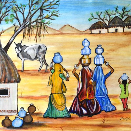 manthan gujarat women empowermnt, 23 x 17 inch, manjiri kanvinde,figurative paintings,paintings for dining room,thick paper,acrylic color,23x17inch,GAL01202361