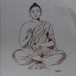 gautam budha, 9 x 11 inch, mrs. kalyani lahon,fine art drawings,paintings for living room,buddha paintings,paper,pencil color,9x11inch,religious,peace,meditation,meditating,gautam,goutam,buddha,drawing,mudra,sitting,giving blessing,GAL06572362