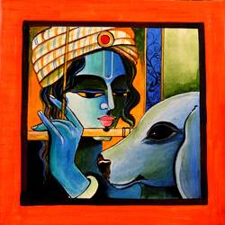 krishna bansuri , 12 x 12 inch, anuradha  sharma,12x12inch,canvas,religious paintings,paintings for dining room,paintings for living room,paintings for office,paintings for hotel,paintings for dining room,paintings for living room,paintings for office,paintings for hotel,acrylic color,GAL01344523620