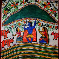 krishna and giriraj parvat , 18 x 12 inch, anuradha  sharma,18x12inch,canvas,paintings,madhubani paintings,paintings for dining room,paintings for living room,paintings for bedroom,paintings for office,paintings for hotel,mixed media,GAL01344523621