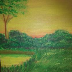 beautiful warm sunset with scenery, 8 x 10 inch, dipika sah,8x10inch,canvas,nature paintings,paintings for living room,paintings for kids room,paintings for living room,paintings for kids room,acrylic color,GAL01236523622