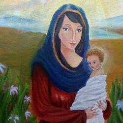 virgin mary with young jesus, 10 x 12 inch, dipika sah,10x12inch,canvas,religious paintings,paintings for living room,paintings for kids room,paintings for living room,paintings for kids room,acrylic color,GAL01236523623