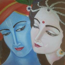 radha krishna in love, 8 x 10 inch, dipika sah,8x10inch,canvas,paintings,radha krishna paintings,paintings for living room,paintings for bedroom,acrylic color,GAL01236523626