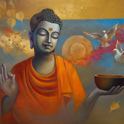 buddha  ananda, 30 x 24 inch, sanjay lokhande,buddha paintings,paintings for living room,religious paintings,paintings for office,canvas,oil,30x24inch,religious,peace,meditation,meditating,gautam,goutam,buddha,birds,feeding birds,orange,blessing,GAL08912363