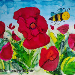 bumblebee in a field of poppies, 12 x 8 inch, manju m,12x8inch,ohp plastic sheets,paintings,flower paintings,nature paintings,illustration paintings,animal paintings,children paintings,kids paintings,paintings for bedroom,paintings for bathroom,paintings for kids room,paintings for hotel,paintings for school,paintings for hospital,ink color,GAL0285623633