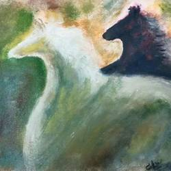 galloping stallion, 12 x 14 inch, amitabh choudhury,12x14inch,canvas,modern art paintings,horse paintings,oil color,GAL01359323636