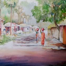 rural life, 19 x 13 inch, tapas paul,19x13inch,handmade paper,paintings,nature paintings,watercolor,GAL01146623638