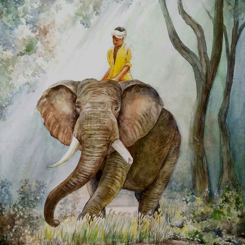 elephant in the jungle, 14 x 21 inch, tapas paul,14x21inch,fabriano sheet,elephant paintings,watercolor,GAL01146623639