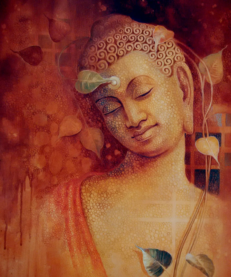 buddha  bhavana, 30 x 36 inch, sanjay lokhande,buddha paintings,paintings for living room,religious paintings,paintings for office,canvas,acrylic color,30x36inch,religious,peace,meditation,meditating,gautam,goutam,buddha,red,leaf,GAL08912364