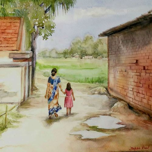 rural life, 15 x 11 inch, tapas paul,15x11inch,fabriano sheet,paintings,nature paintings,watercolor,GAL01146623641