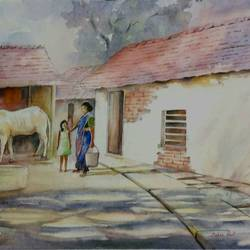 hut life, 19 x 13 inch, tapas paul,19x13inch,handmade paper,paintings,nature paintings,watercolor,GAL01146623645