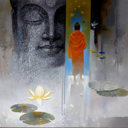 buddha breathing, 36 x 30 inch, sanjay lokhande,buddha paintings,paintings for living room,religious paintings,paintings for office,canvas,acrylic color,36x30inch,religious,peace,meditation,meditating,gautam,goutam,buddha,monk,grey,lotus,blessing,GAL08912365