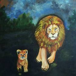 lion the king of jungle with his cub, 18 x 20 inch, mamta pandey ,18x20inch,canvas,paintings,animal paintings,paintings for living room,paintings for bedroom,paintings for office,paintings for kids room,paintings for hotel,paintings for school,paintings for hospital,acrylic color,GAL0197123650