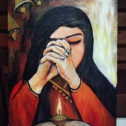 devotion and peace , 18 x 20 inch, mamta pandey ,18x20inch,canvas,paintings,religious paintings,paintings for dining room,paintings for living room,paintings for bedroom,paintings for office,paintings for kids room,paintings for hotel,paintings for kitchen,paintings for school,paintings for hospital,acrylic color,GAL0197123651
