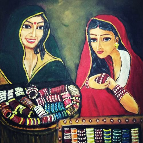a beautiful bangle seller , 14 x 16 inch, mamta pandey ,14x16inch,canvas,paintings,warli paintings,paintings for dining room,paintings for living room,paintings for bedroom,paintings for office,paintings for kids room,paintings for hotel,paintings for kitchen,paintings for school,paintings for hospital,acrylic color,GAL0197123652