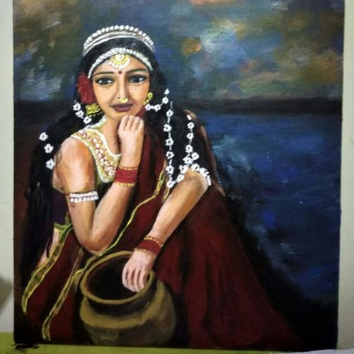 beautiful indian woman , 14 x 16 inch, mamta pandey ,14x16inch,canvas,paintings,portrait paintings,paintings for dining room,paintings for living room,paintings for bedroom,paintings for office,paintings for kids room,paintings for hotel,paintings for kitchen,acrylic color,GAL0197123653