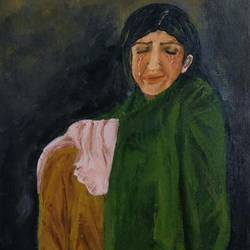 sad woman , 12 x 14 inch, mamta pandey ,12x14inch,canvas,paintings,conceptual paintings,paintings for living room,paintings for office,paintings for hotel,acrylic color,GAL0197123654