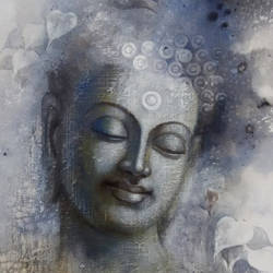 buddha  mindfulness, 30 x 36 inch, sanjay lokhande,buddha paintings,paintings for living room,religious paintings,paintings for office,canvas,acrylic color,30x36inch,religious,peace,meditation,meditating,gautam,goutam,buddha,grey,smiling,blessing,GAL08912366