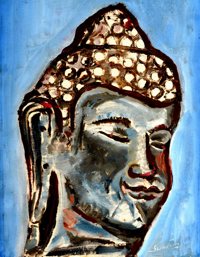 lord buddha-5, 12 x 15 inch, anand manchiraju,12x15inch,canvas,paintings,buddha paintings,paintings for dining room,paintings for living room,paintings for bedroom,paintings for office,mixed media,GAL01254023660