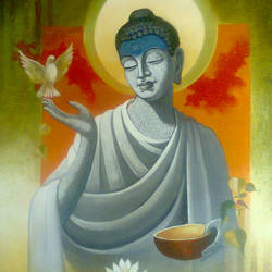 buddha  vigilance, 18 x 24 inch, sanjay lokhande,buddha paintings,paintings for living room,religious paintings,paintings for office,canvas,acrylic color,18x24inch,religious,peace,meditation,meditating,gautam,goutam,buddha,bird,GAL08912367
