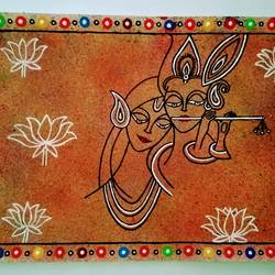 radha krishna holi abstract, 16 x 12 inch, geeta kwatra,16x12inch,handmade paper,paintings,abstract paintings,religious paintings,love paintings,paintings for bedroom,acrylic color,GAL0899123671