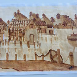 coffe painting, 14 x 10 inch, veda dholakia,14x10inch,thick paper,landscape paintings,coffee,GAL01361023672
