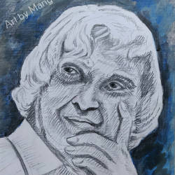 portrait sketch - dr. apj abdul kalam, 9 x 13 inch, mangal singh,9x13inch,canvas,drawings,portrait drawings,paintings for dining room,paintings for living room,paintings for office,paintings for school,paintings for hospital,acrylic color,charcoal,graphite pencil,GAL0648523676
