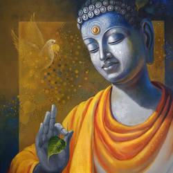 budhha  wisdom, 30 x 36 inch, sanjay lokhande,buddha paintings,paintings for living room,religious paintings,paintings for office,canvas,acrylic color,30x36inch,religious,peace,meditation,meditating,gautam,goutam,buddha,blessing,leaf,bird,GAL08912368