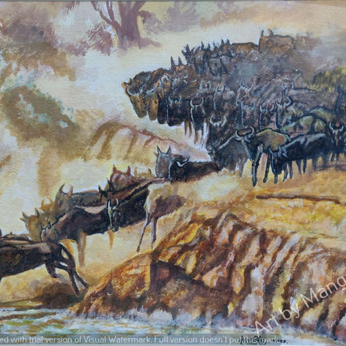 wild horses sprinting away, 19 x 13 inch, mangal singh,19x13inch,canvas,paintings,wildlife paintings,paintings for dining room,paintings for living room,paintings for kids room,paintings for school,acrylic color,GAL0648523683