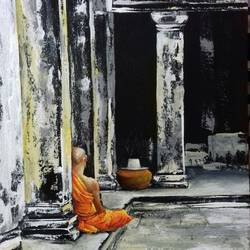 peace within walls, 18 x 22 inch, biswadeep sarkar,18x22inch,canvas board,paintings,buddha paintings,paintings for hotel,acrylic color,GAL01256223685