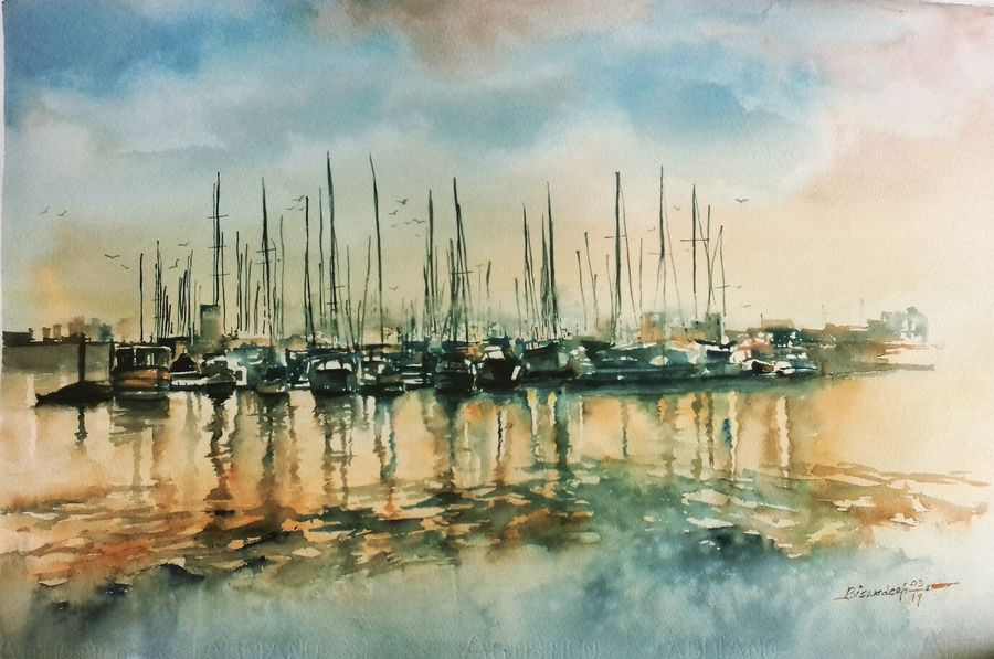 boats in evening , 22 x 18 inch, biswadeep sarkar,22x18inch,handmade paper,landscape paintings,paintings for office,paintings for hospital,paintings for office,paintings for hospital,watercolor,GAL01256223686