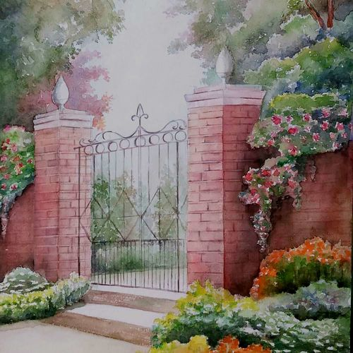 the gate, 11 x 16 inch, tapas paul,11x16inch,handmade paper,realistic paintings,watercolor,GAL01146623687