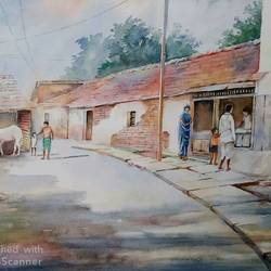rural view, 20 x 13 inch, tapas paul,20x13inch,handmade paper,realistic paintings,watercolor,GAL01146623688